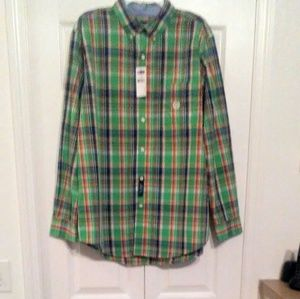 CHAPS MENS GREEN PLAID BUTTON UP CASUAL SHIRT LG